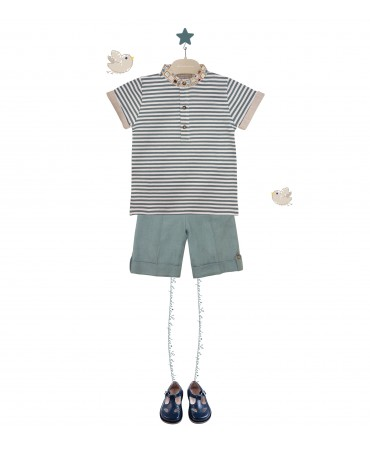 GREEN STRIPPED POLO