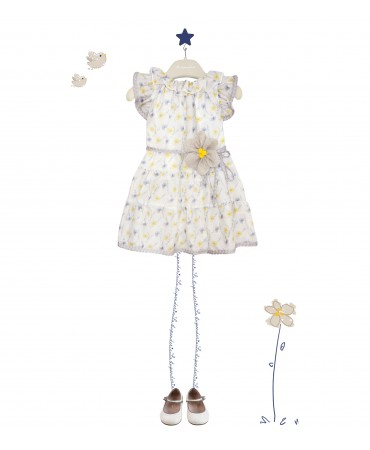 DRESS WITH YELLOW AND BLUE FLOWERS