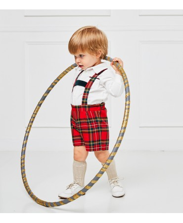 Red tartan shorts with suspenders