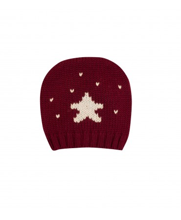 RED BABY HAT WITH WHITE STAR