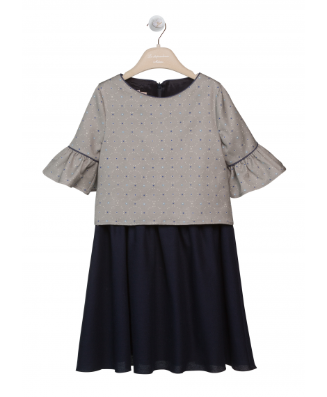 DRESS WITH 3/4 SLEEVES AND CURLING SKIRT