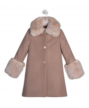 COAT WITH FAUX FUR COLLAR AND CUFFS